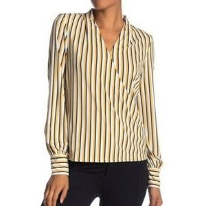 ADRIANNA PAPELL Striped Faux Wrap Blouse